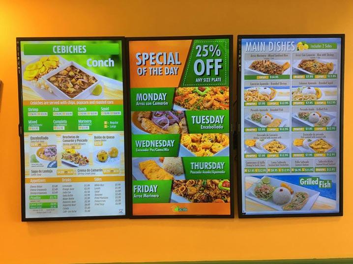 Digital Menu Boards Ceviche